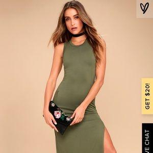 Olive Green Sleeveless Maxi Dress